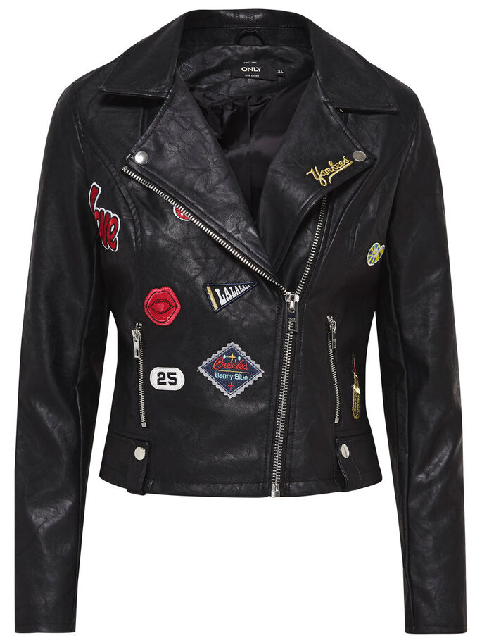 BADGE BIKER FAUX LEATHER JACKET, Black, large