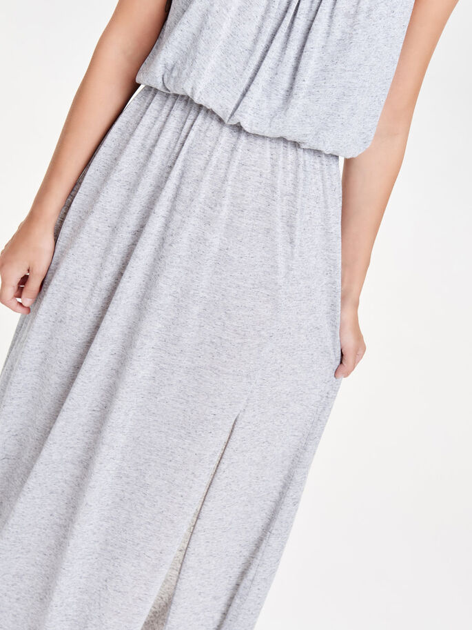 LONGUE ROBE SANS MANCHES, Light Grey Melange, large