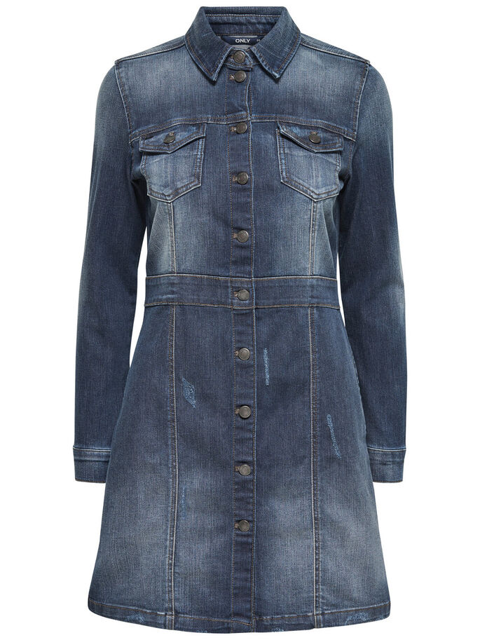 DE MANGA LARGA VESTIDO VAQUERO, Medium Blue Denim, large