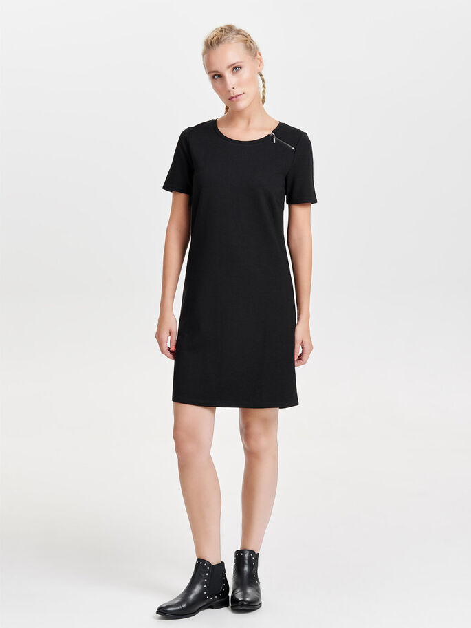 ZIP DETAILED SHORT SLEEVED DRESS, Black, large