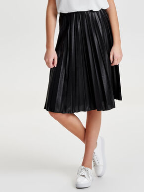 COATED PLISSÉRET MIDI SKIRT