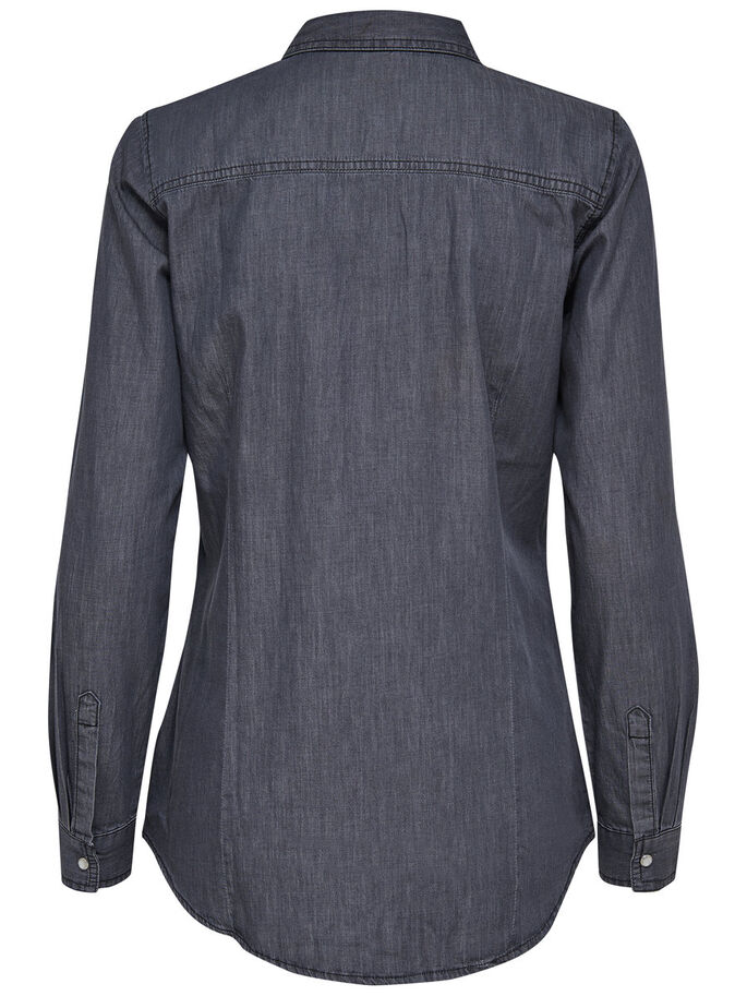 LÄSSIGES LANGARMHEMD, Dark Grey Denim, large