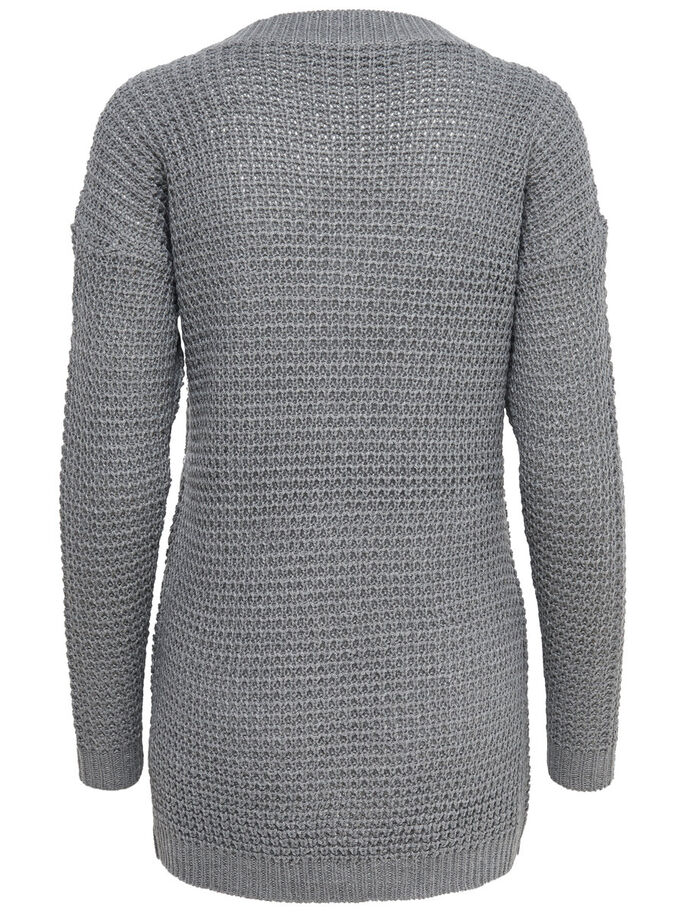 LÅNG STICKAD KOFTA, Medium Grey Melange, large