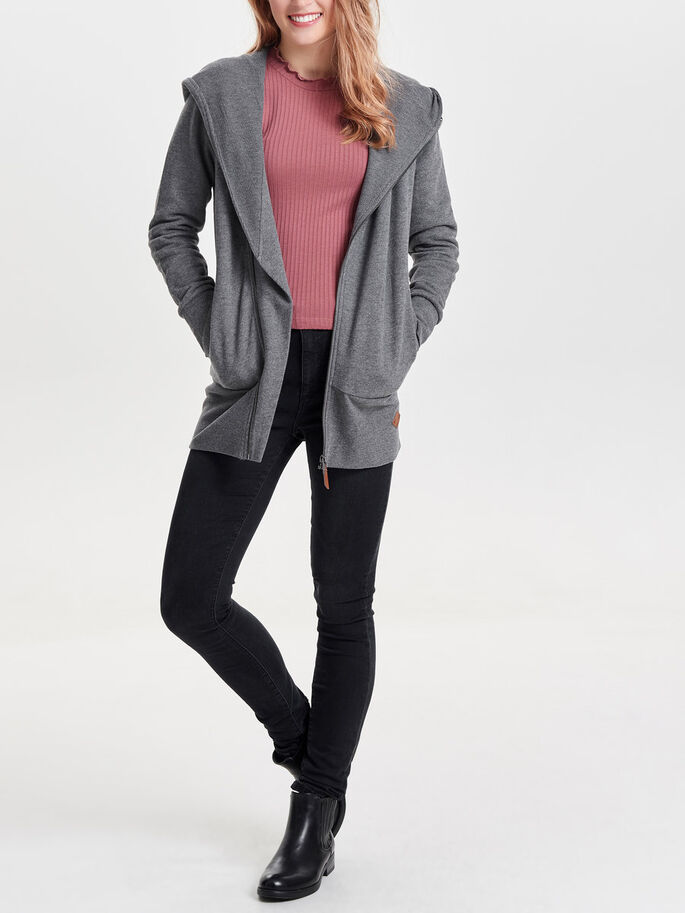 LONG SWEATSHIRT, Dark Grey Melange, large