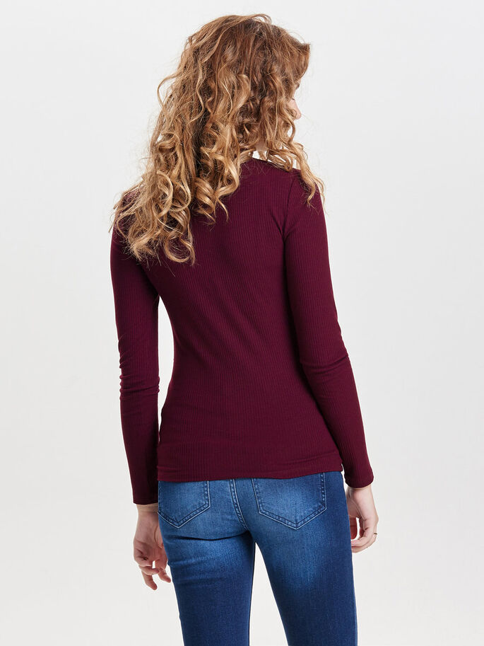 HIGH-NECK TOP MET LANGE MOUWEN, Zinfandel, large