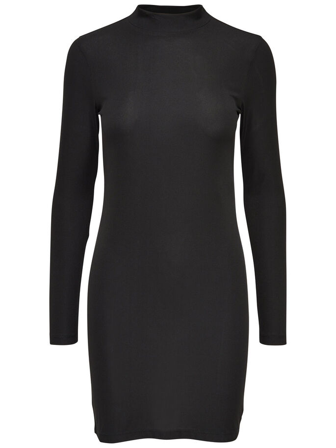 HIGH NECK LONG SLEEVED DRESS, Black, large