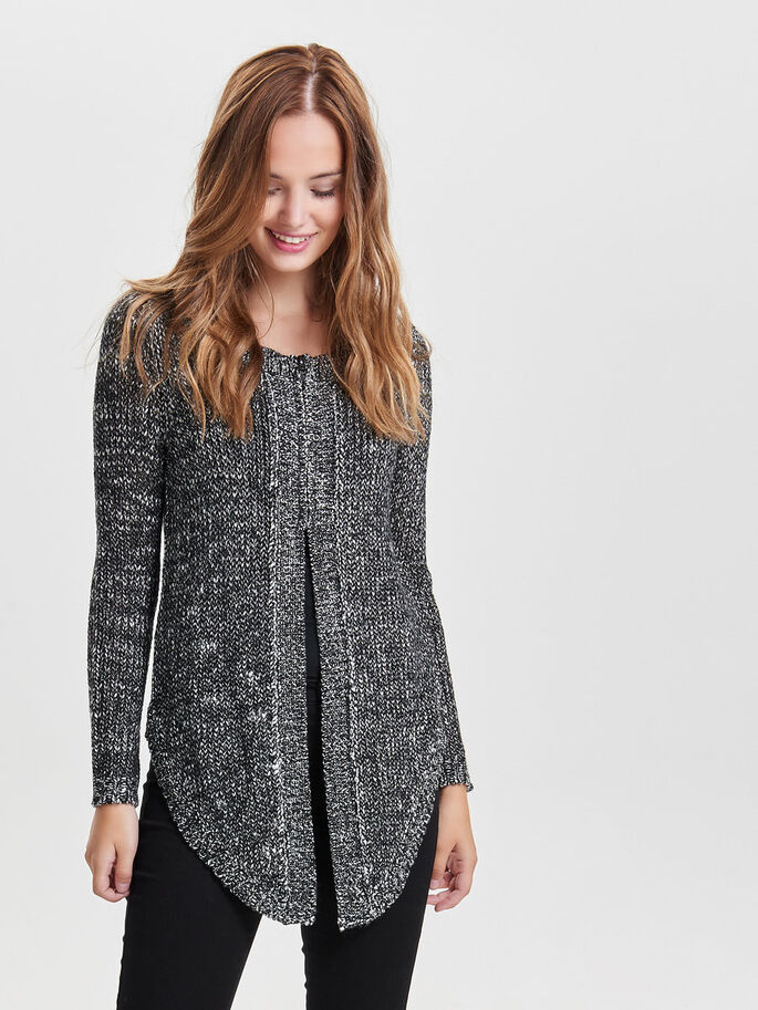 ZIP KNITTED CARDIGAN, Black, large