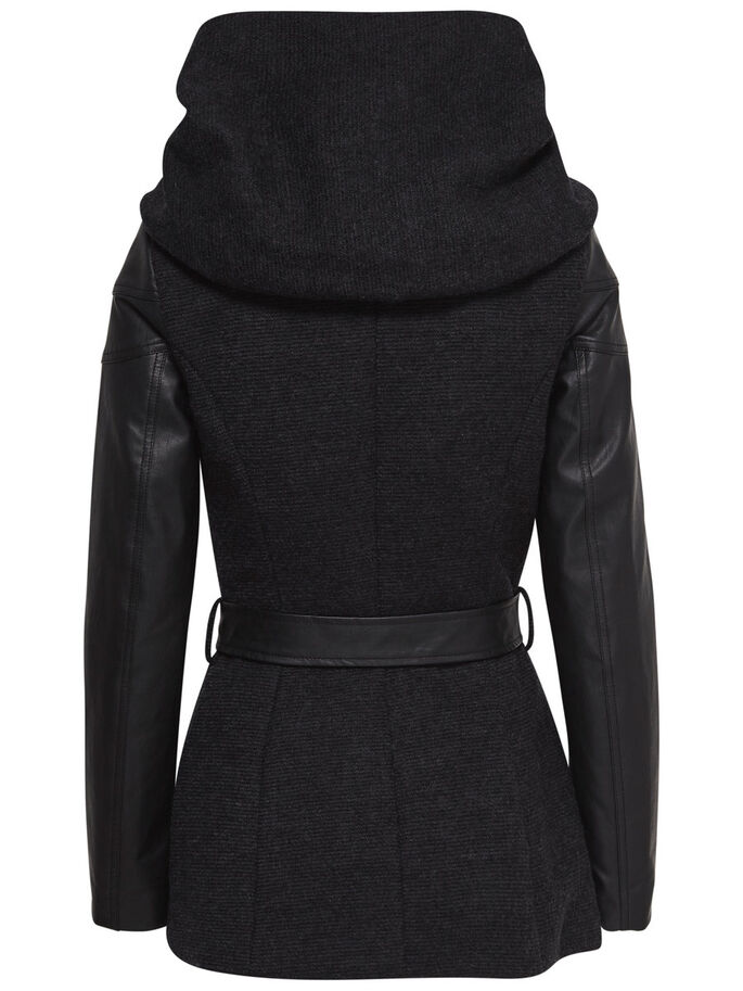 SHORT WOOL COAT, Black, large