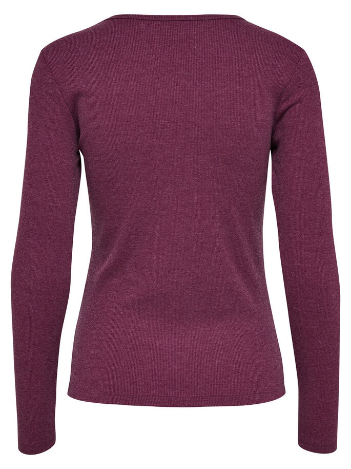 LACE-UP LONG SLEEVED TOP, Windsor Wine, large