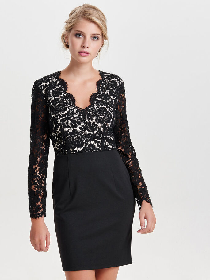 LACE LONG SLEEVED DRESS, Black, large