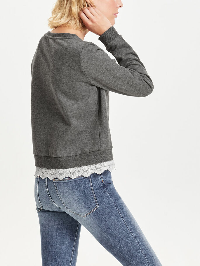 DETALJERT SWEATSHIRT, Dark Grey Melange, large