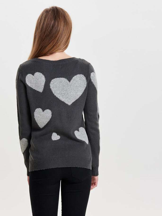 HEART KNITTED PULLOVER, Dark Grey Melange, large
