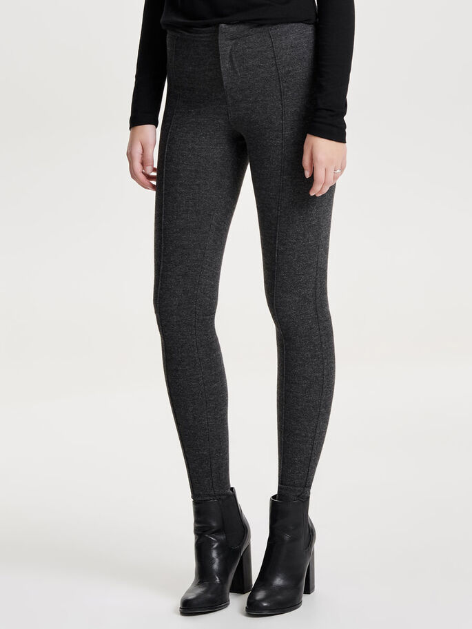 DETALJERADE LEGGINGS, Dark Grey Melange, large