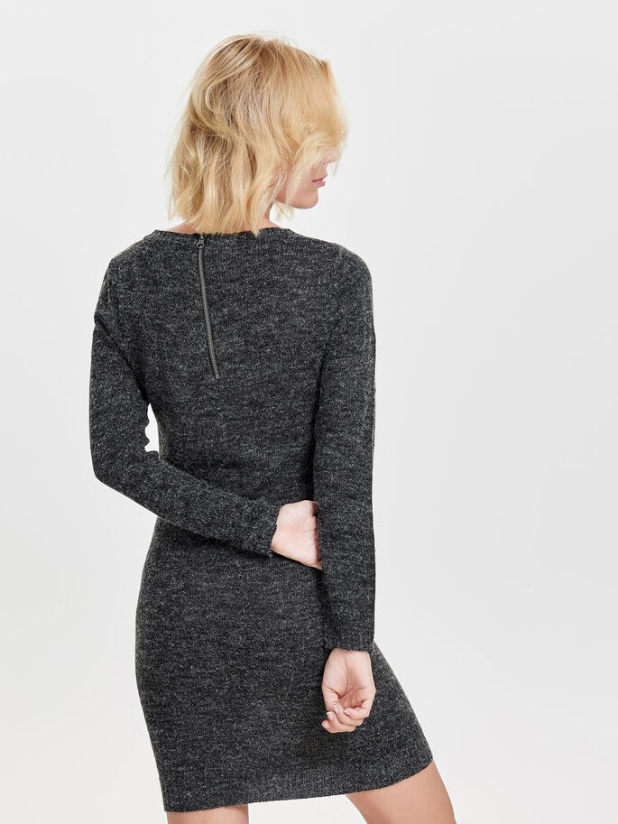 ZIP KNITTED DRESS, Dark Grey Melange, large