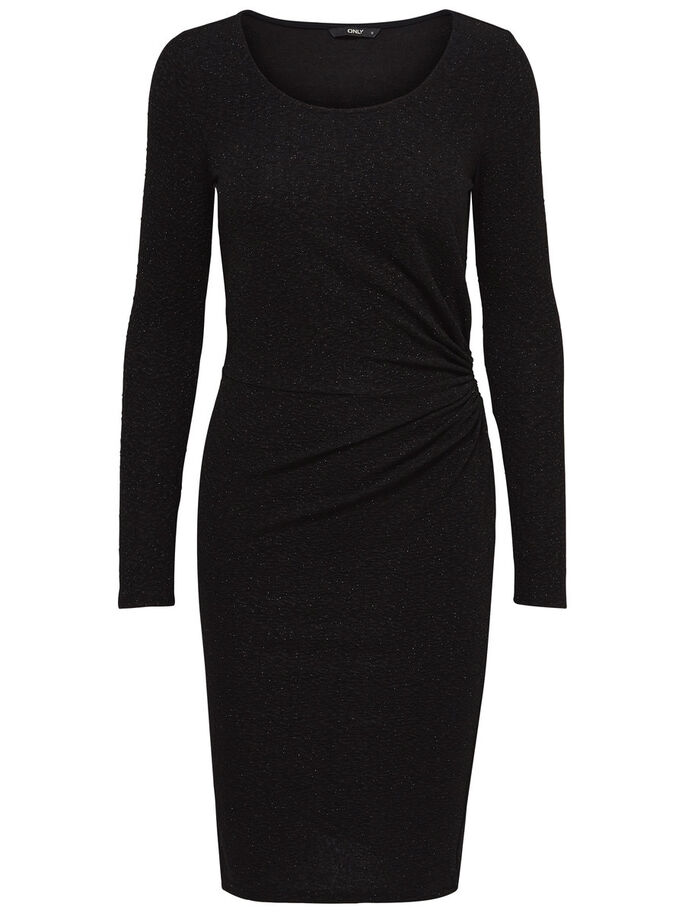 DRAPY LONG SLEEVED DRESS, Black, large