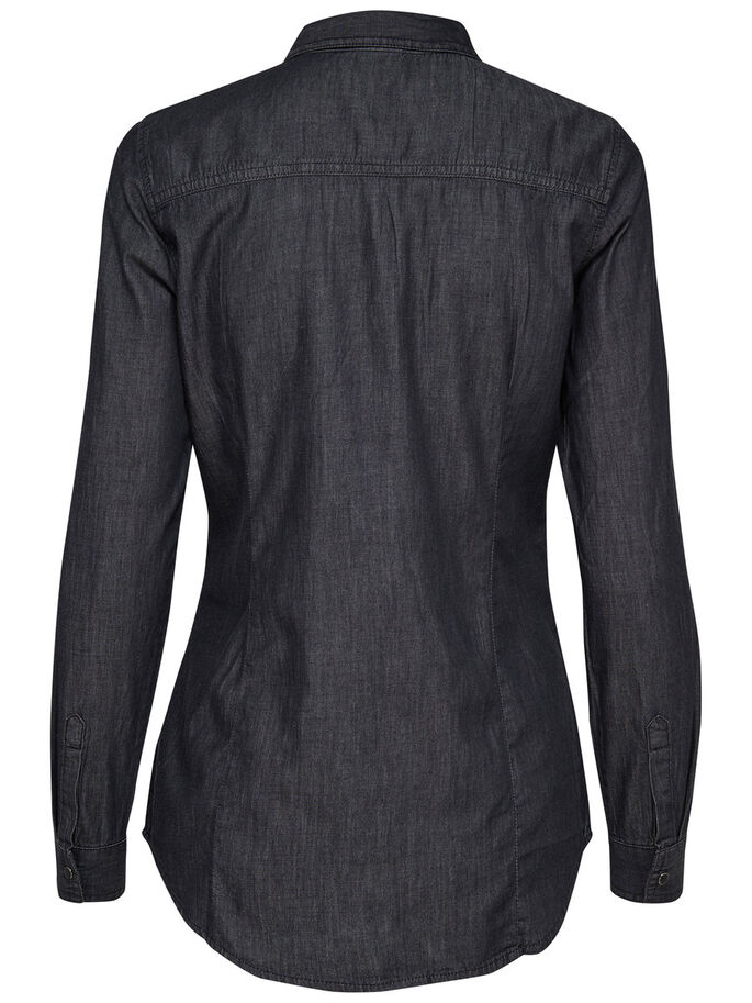 LOOSE LONG SLEEVED SHIRT, Black, large