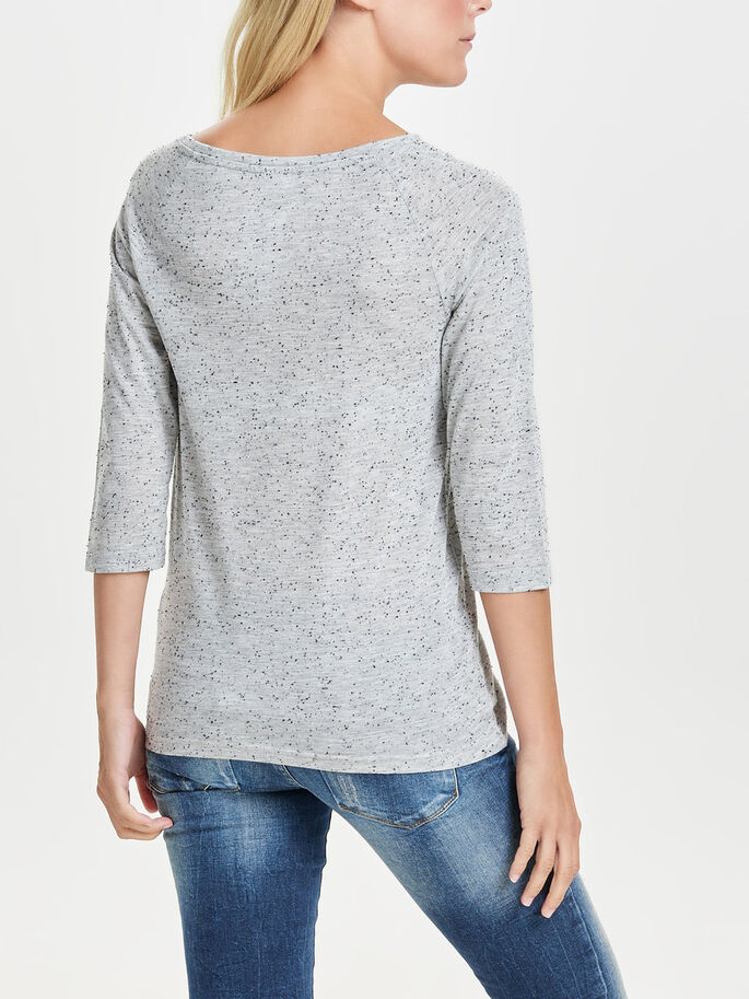 ESTAMPADA BLUSA CON MANGAS 3/4, Light Grey Melange, large
