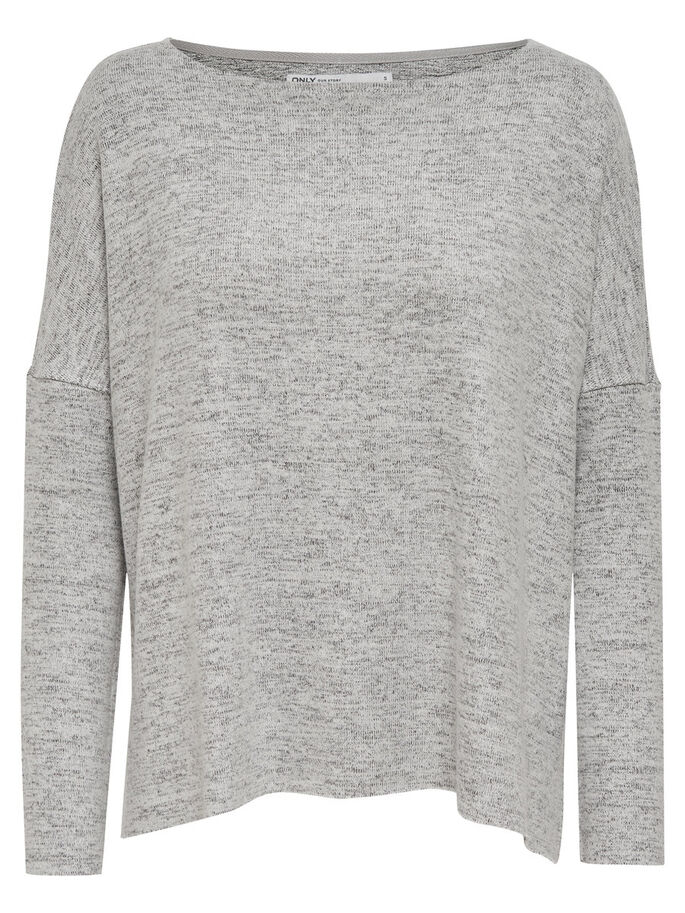 LÄSSIG SITZENDER STRICKPULLOVER, Light Grey Melange, large