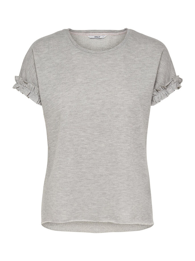 FRILL SHORT SLEEVED TOP, Light Grey Melange, large