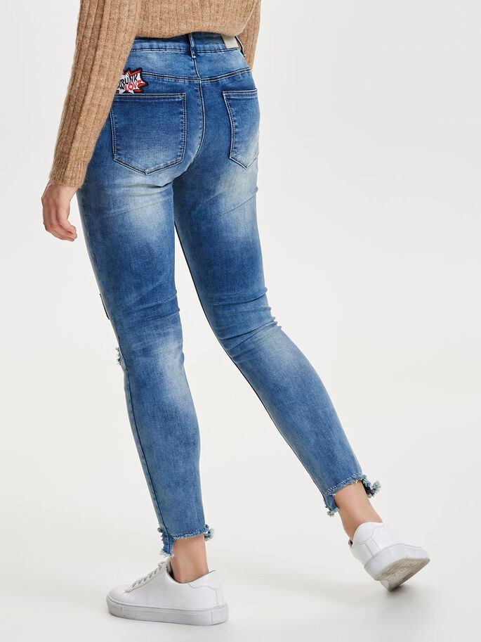 CARMEN NORMALHÖGA LAPPRYDDA SKINNY FIT-JEANS, Medium Blue Denim, large