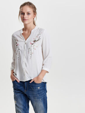 EMBROIDERY 3/4 SLEEVED SHIRT