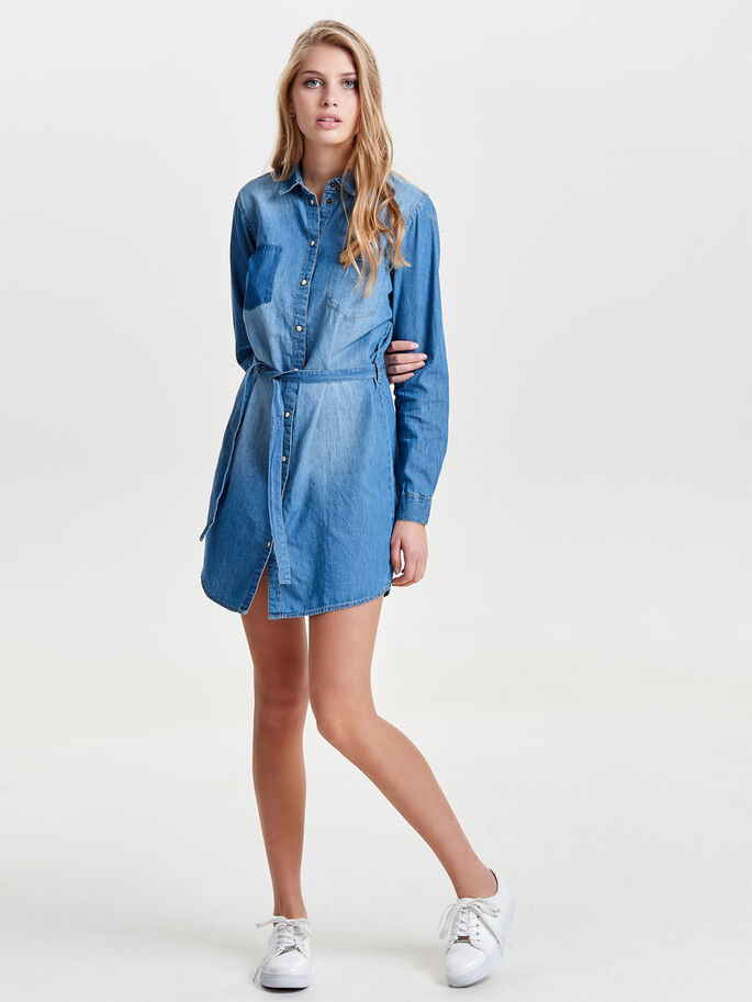 LONG SLEEVED DENIM DRESS, Medium Blue Denim, large