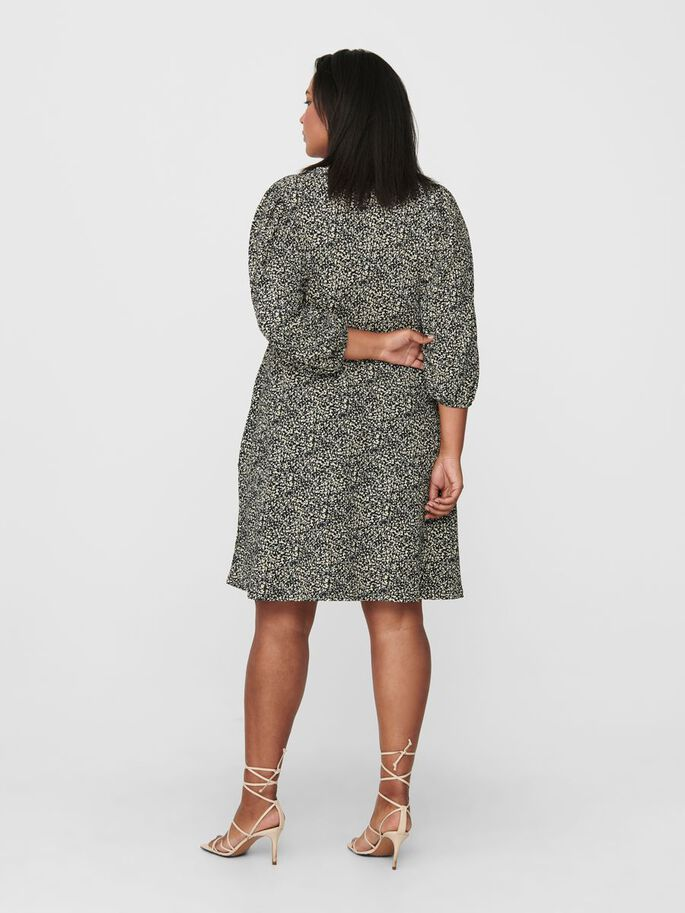 CURVY PRINTED DRESS, Black, large