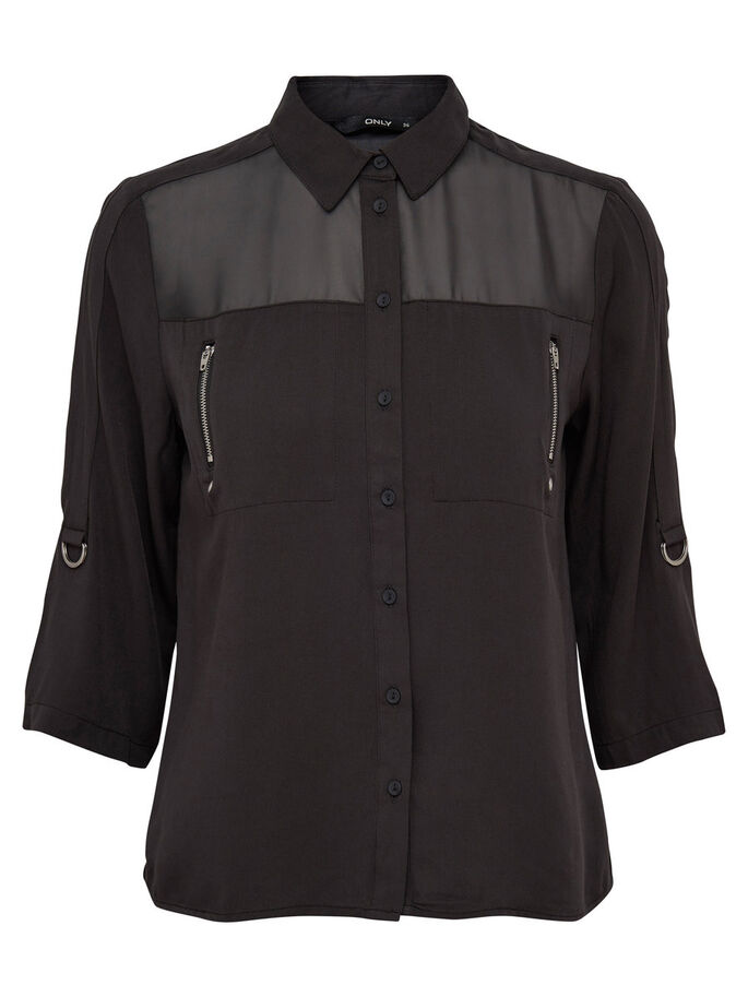 DETAILED 3/4 SLEEVED SHIRT, Phantom, large