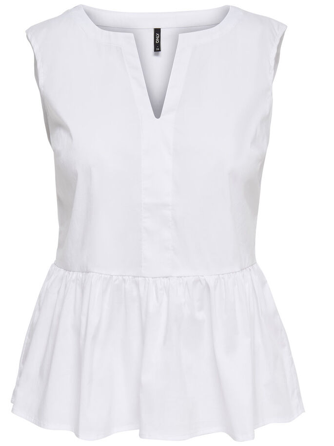 PEPLUM ERMELØS TOPP, Bright White, large