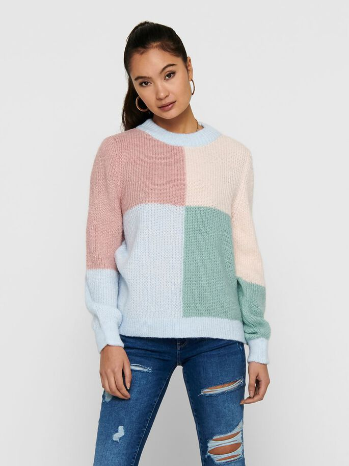 DETAILED KNITTED PULLOVER, Cashmere Blue, large