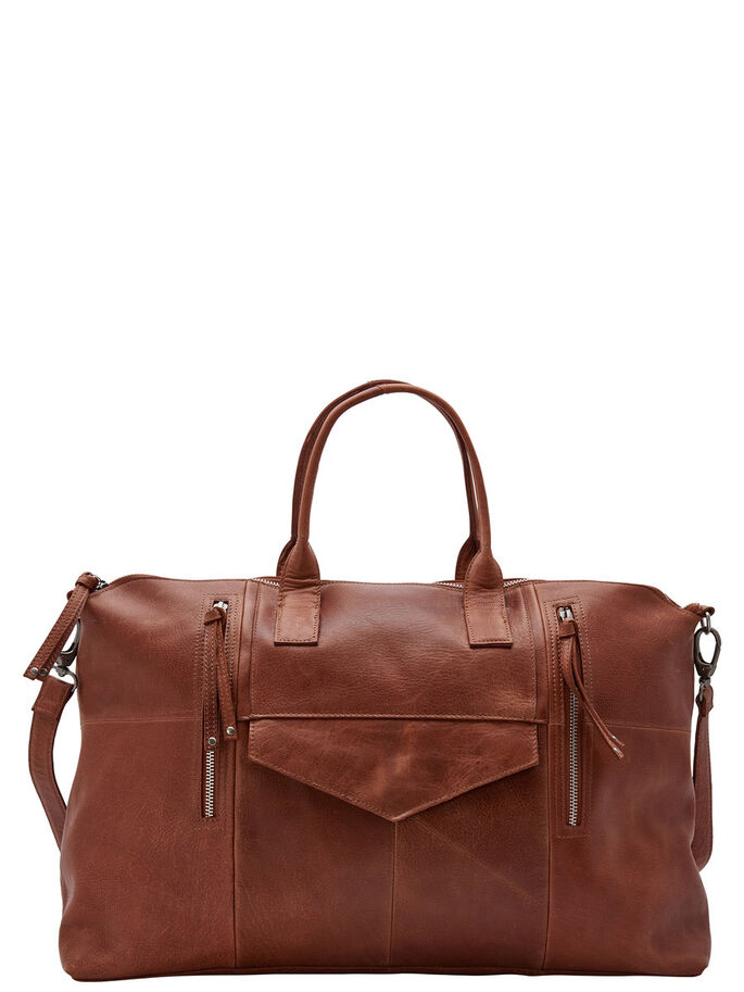 LEATHER WEEKEND BAG, Cognac, large