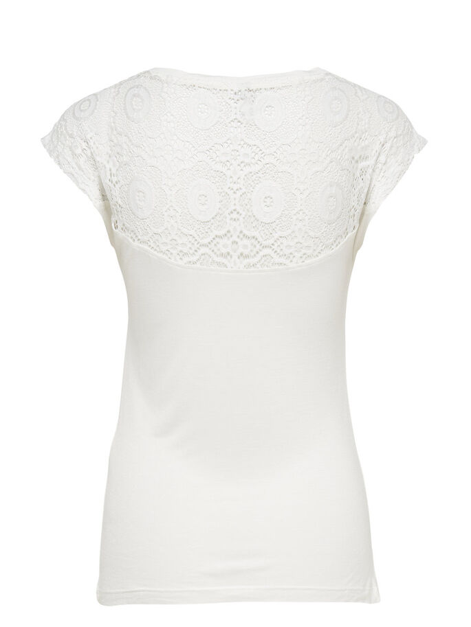 LACE SHORT SLEEVED TOP, Cloud Dancer, large