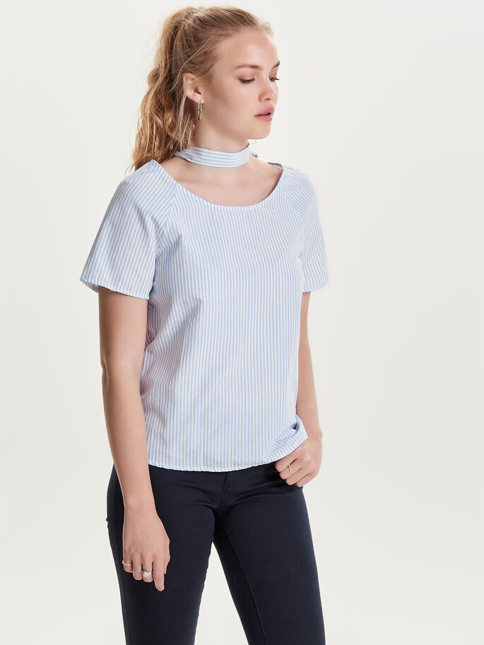 CHOKER SHORT SLEEVED TOP, White, large