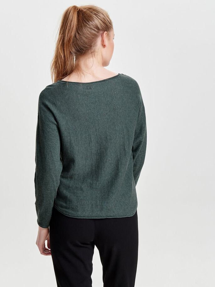 SOLID KNITTED PULLOVER, Balsam Green, large