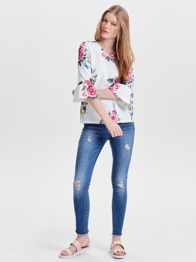 PRINTED 3/4 SLEEVED TOP, Cloud Dancer, large