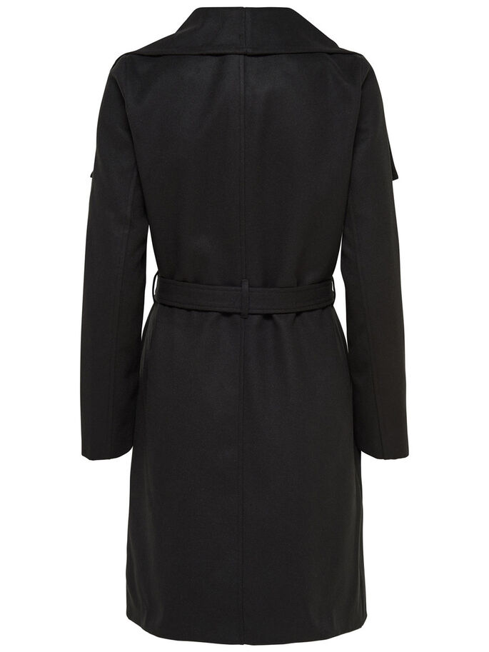LONG DRAPY TRENCHCOAT, Black, large