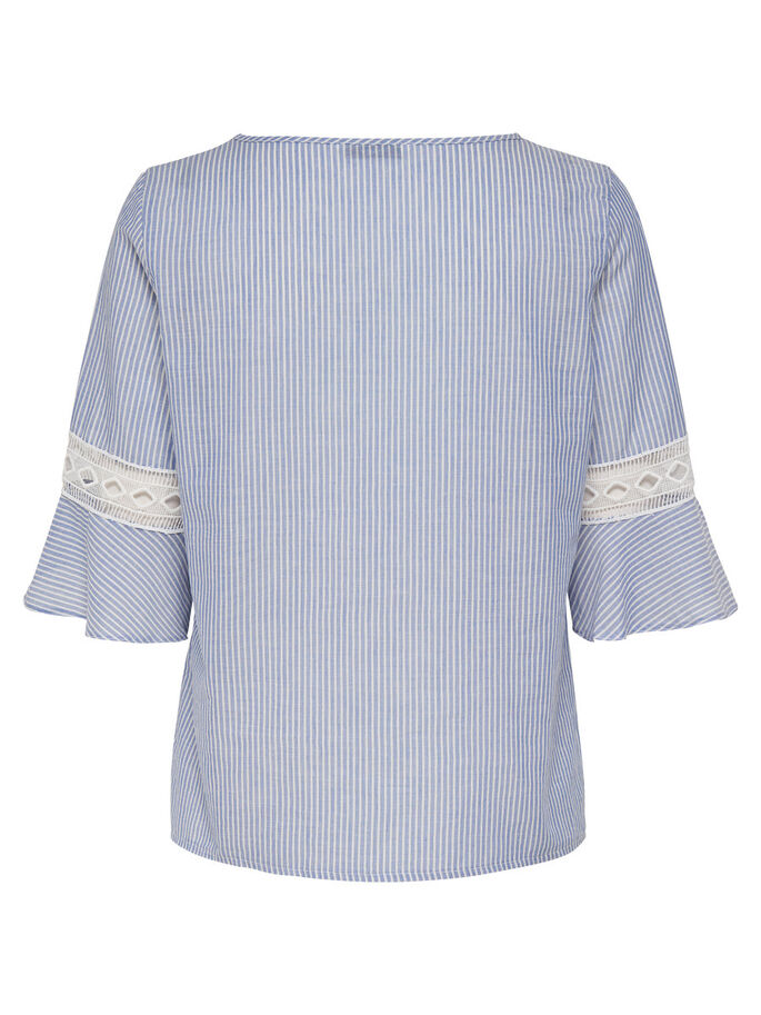CROCHET 2/4 SLEEVED BLOUSE, Cashmere Blue, large