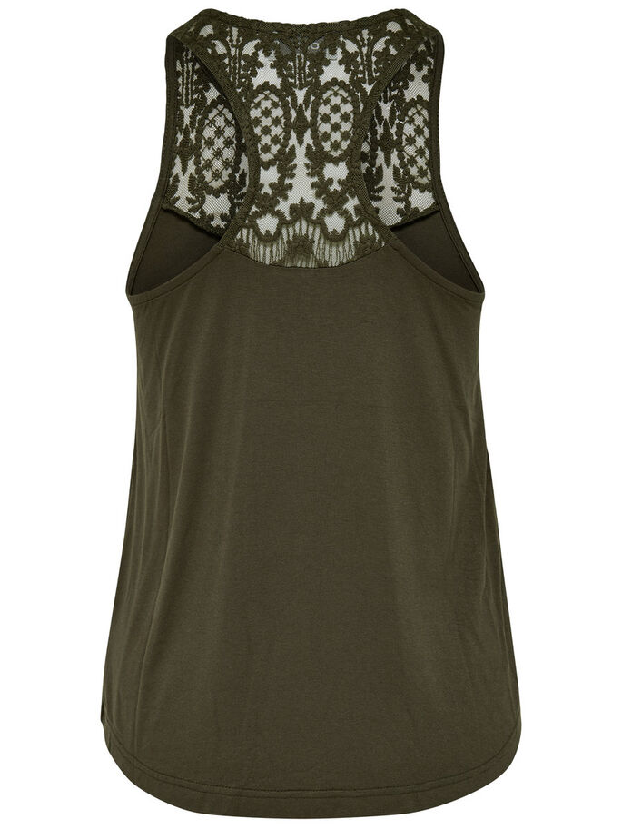 LACE SLEEVELESS TOP, Tarmac, large