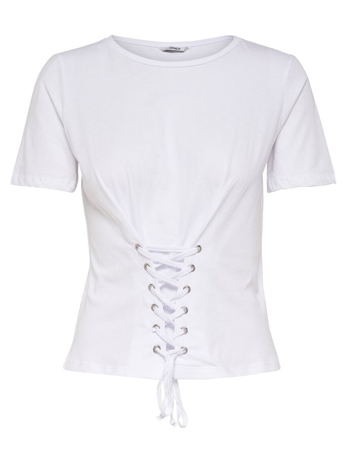 DETAILED SHORT SLEEVED TOP, White, large