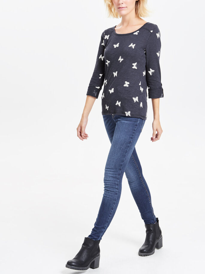 PRINTED 3/4 SLEEVED TOP, Navy Blazer, large