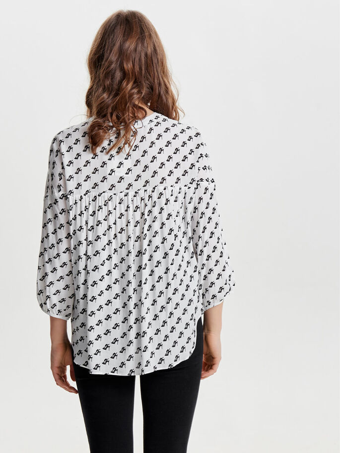OVERSIZE 3/4 SLEEVED TOP, Marshmallow, large