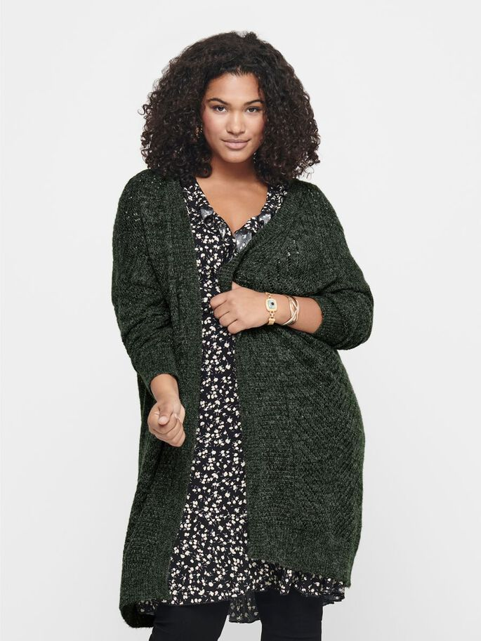 CURVY LOOSE KNITTED CARDIGAN, Rosin, large