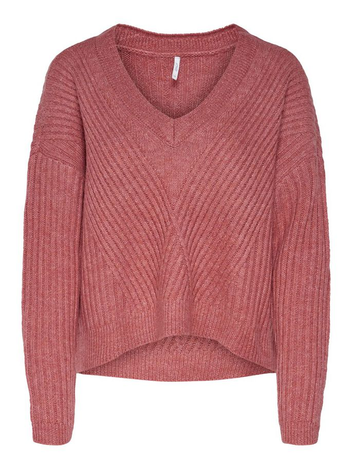 LOOSE FITTED KNITTED PULLOVER, Mineral Red, large