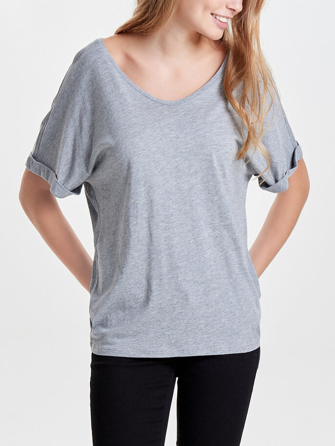 LØS TOP MED KORTE ÆRMER, Light Grey Melange, large