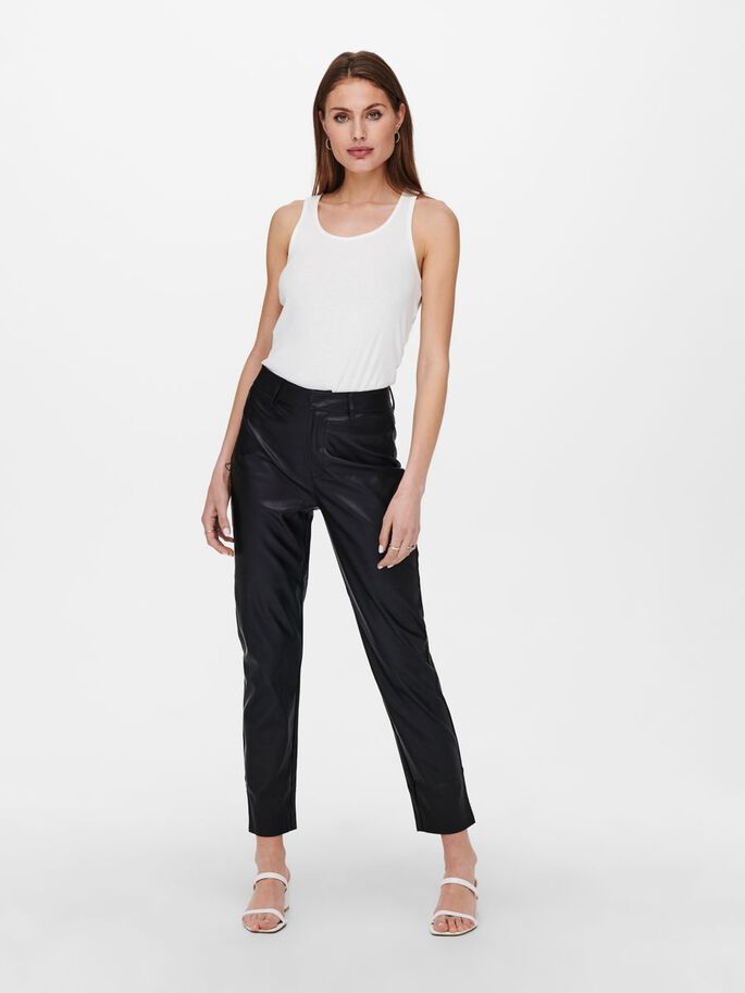 LEATHER LOOK TROUSERS, Black, large