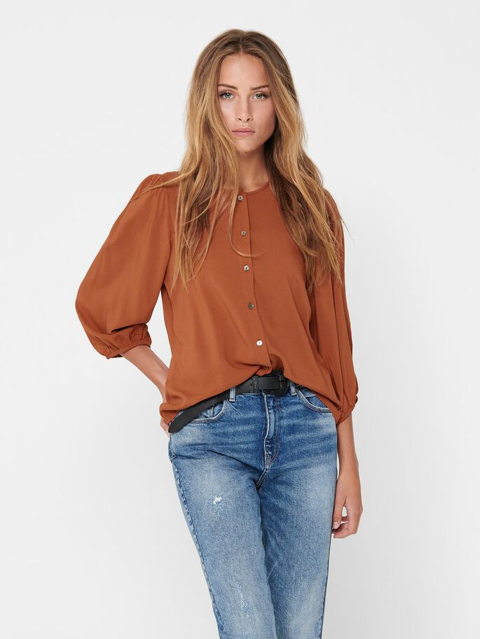 PUFF SLEEVE TOP, Ginger Bread, large