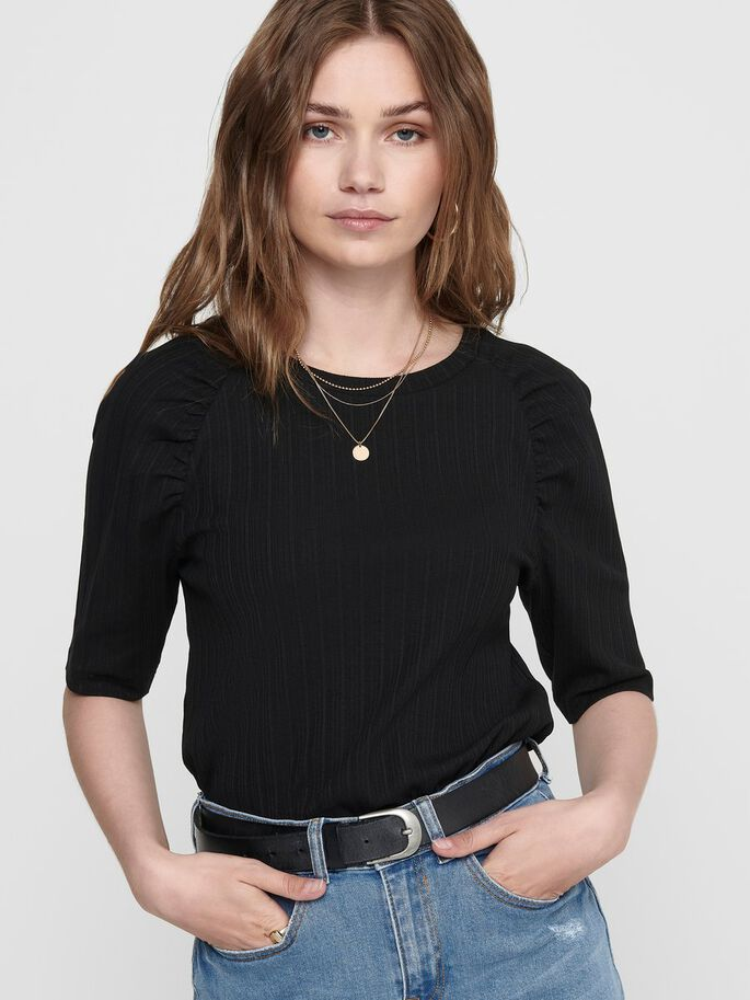 PUFF SLEEVE TOP, Black, large