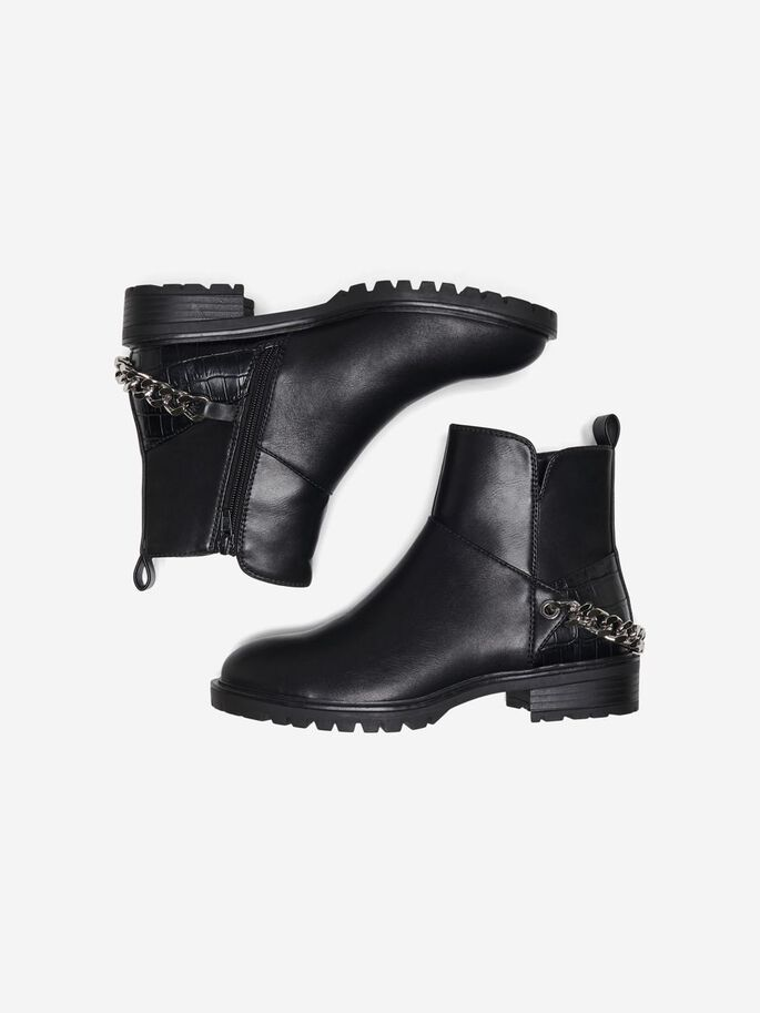 CHAIN DETAIL BOOTS, Black, large