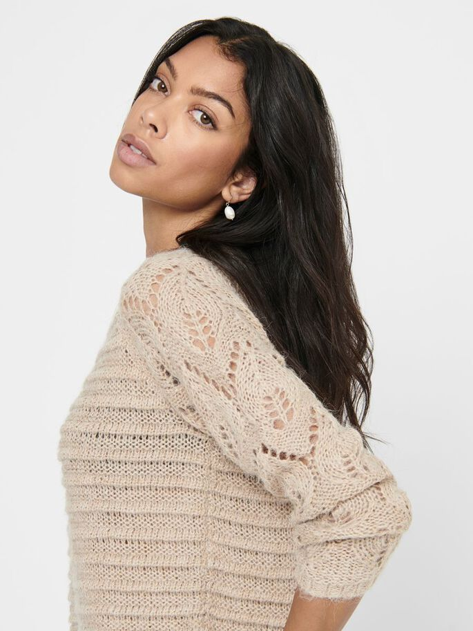 TEXTURE KNITTED PULLOVER, Humus, large