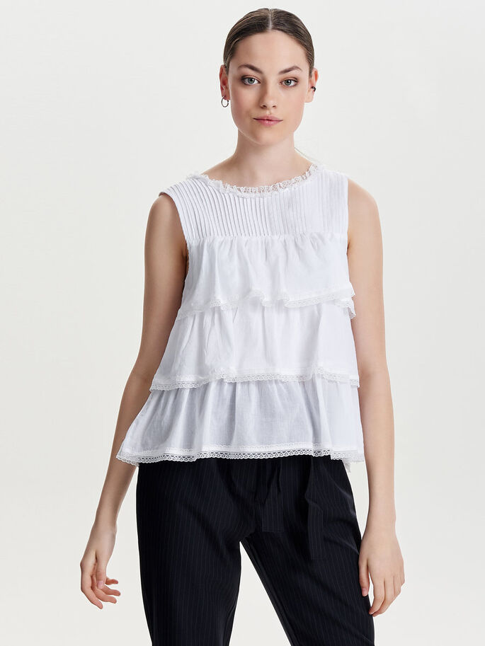 FRILL SLEEVELESS TOP, Cloud Dancer, large